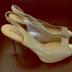 Women's Size 12 Nine West Gold Glitter Heels